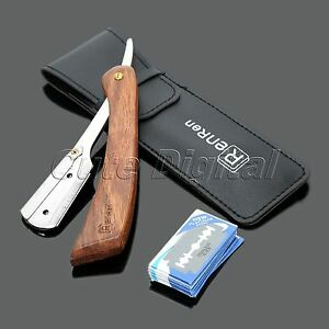Rosewood-Handle-Straight-Edge-Barber-Razor-Folding-Shaving-Knife-with-10-Blades