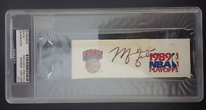 96ebefced87 MICHAEL JORDAN PSA/DNA AUTOGRAPH CUT 1989 KNICKS PLAYOFFS Signed ...