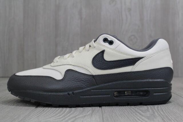 30 New Mens Nike Air Max 1 Premium Sail Obsidian Dark Grey Shoes 875844 100 10
