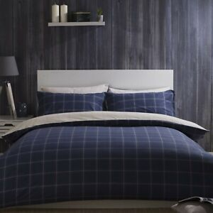 100-Brushed-Cotton-Check-Duvet-Cover-Set-Navy-Blue-amp-Cream-Single-Bed-Size