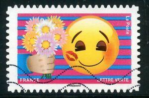 France Autoadhesif Oblitere N° 1563 Emoji / Emotions / Bouquet De Fleurs Apparence Brillante Et Translucide