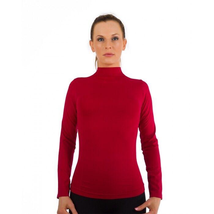 Women Mock Neck Long Sleeve Shirt Turtleneck Top Stretch
