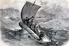 Long Branch New Jersey 1866 TRIAL FRAZER'S NEW LIFEBOAT LIFE SAVING Matted Print