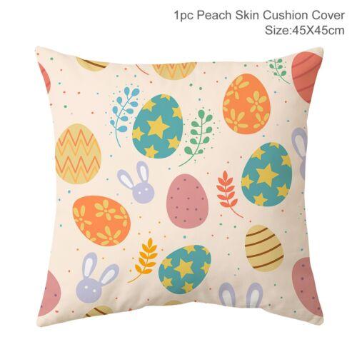 "18/"" Happy Easter Rabbit Bunny Cushion Cover Pillow Case Home Sofa Car Bed Decor"