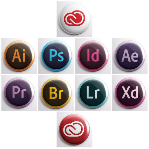Photoshop designer developer pinback buttons ADOBE CREATIVE CLOUD ICON LOGOS