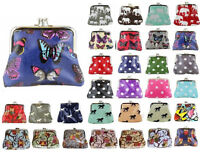 Ladies Oilcloth OWL BUTTERFLY POLKA DOT FLOWER Small Coin Purse Girl Wallet Bag