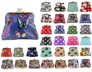 Ladies-Oilcloth-OWL-BUTTERFLY-POLKA-DOT-FLOWER-Small-Coin-Purse-Girl-Wallet-Bag