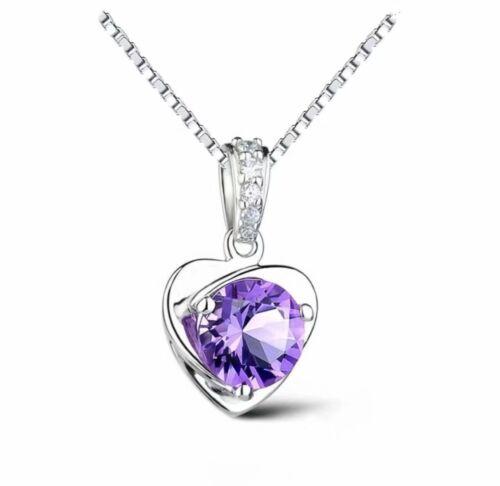 925 Sterling Silver Heart Pendant Chain Necklace Womens Jewellery Purple