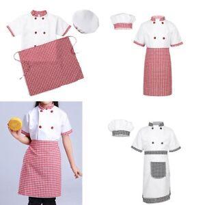 KID-Ragazzi-Ragazza-Chef-Uniforme-Costume-Outfit-giacca-Grembiule-Cappello-Cosplay-Costume