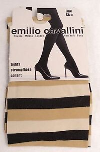 645fb40d035aa Image is loading EMILIO-CAVALLINI-HORIZONTAL-STRIPED-TIGHTS -BLACK-CARAMEL-BEIGE-