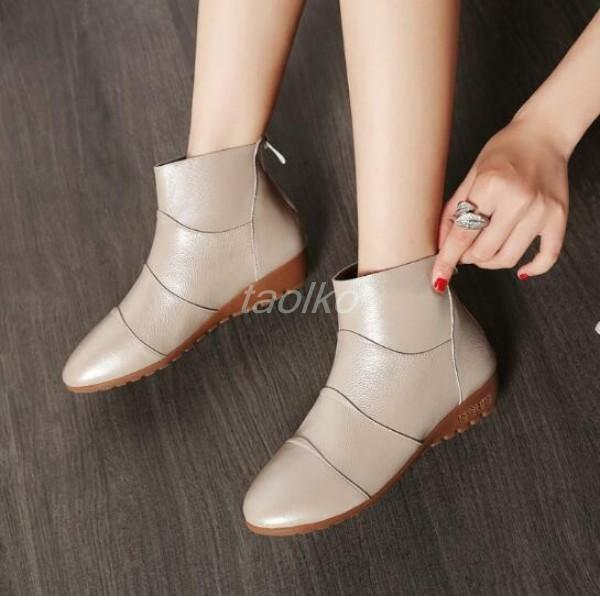 Women Back Zipper Round Toe Flat Heel Splicing Casual Ankle Boots shoes HOT SZ