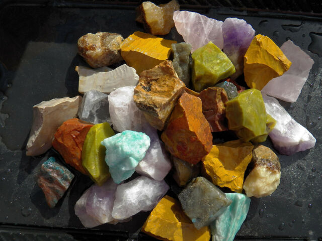 1 lb Moonstone Rough Cabbing Tumbling Rough Mixed Color From India