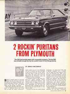Details about 1967 PLYMOUTH SATELLITE 383 & GTX 440 ~ ORIGINAL 4-PAGE ROAD  TEST / ARTICLE / AD