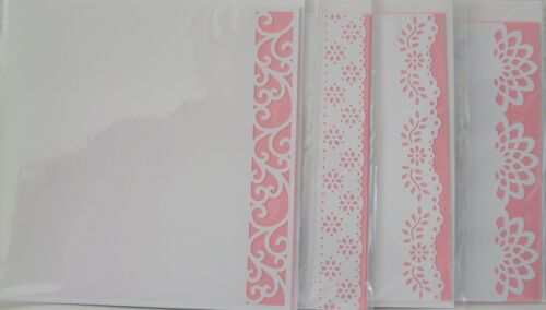 Decorative Edge Blank cards  pink inserts-4 in pk Acid Free//Own//White app 8x8