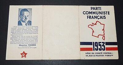 CARTE D'ADHERENT 1953 COTISATIONS TIMBRES PARTI COMMUNISTE FRANCAIS PCF  THOREZ   eBay
