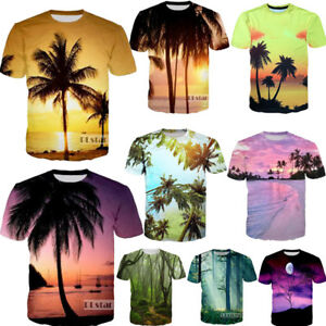 7ec8e50ff 3D Print Coconut Tree Summer Short Sleeve Round Tops Beach T-Shirt ...