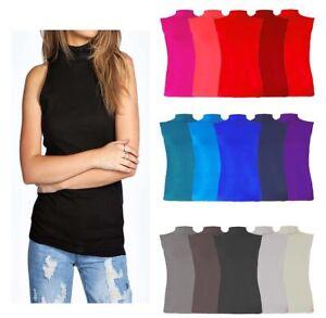21c2926eaf6 New Ladies Womens Sleeveless Polo Neck Plain T-Shirt Tunic Top Plus ...