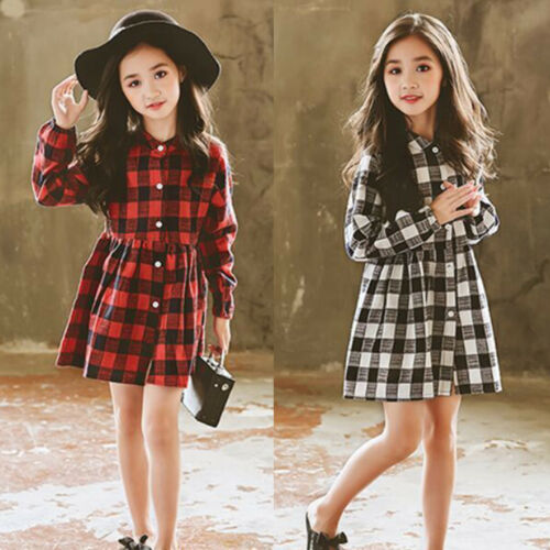 Fashion Baby Kids Girl Dress Plaids Checked Party Princess Formal Dresses