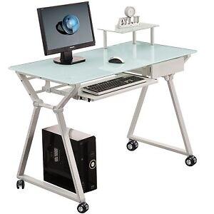 Scrivania tavolo design postazione ufficio vetro con ruote for Mondo office