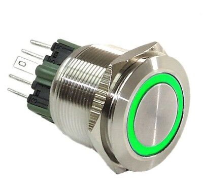 Off Light Switch 25mm Black Stainless Push Button GREEN Halo Angel Eye LED On