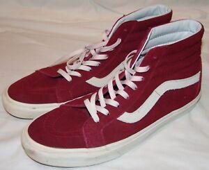 Vans Off The Wall High Top Sneakers 13 Hi Skateboard Maroon Burgundy ... acda2f506d68