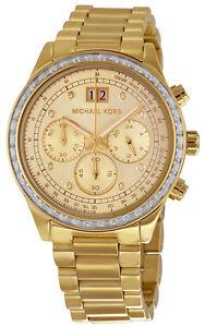 103407d6e971 Michael Kors MK6187 Brinkley Gold Dial Gold Tone Chronograph Women s ...