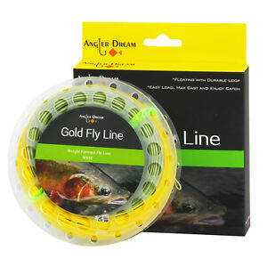 WF-2-3-4-5-6-7-8-9F-Gold-Fly-Line-Double-Color-Fly-Fishing-Line-amp-2-Welded-Loop