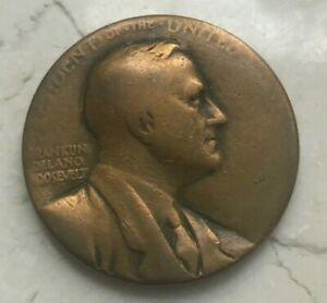 Franklin-Delano-Roosevelt-Bronze-Memorial-Medal-1-1-2-1-5-Inches