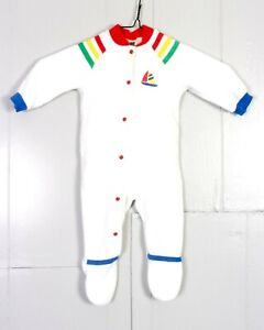 vtg-70s-80s-Carter-039-s-Rainbow-Striped-Sailboat-Terry-Cloth-Snap-Bodysuit-baby-M