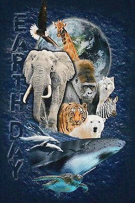 NEW Earth Day T-Shirt 5XL Blue Mens Womens Short Sleeve Whale Elephant 5K6