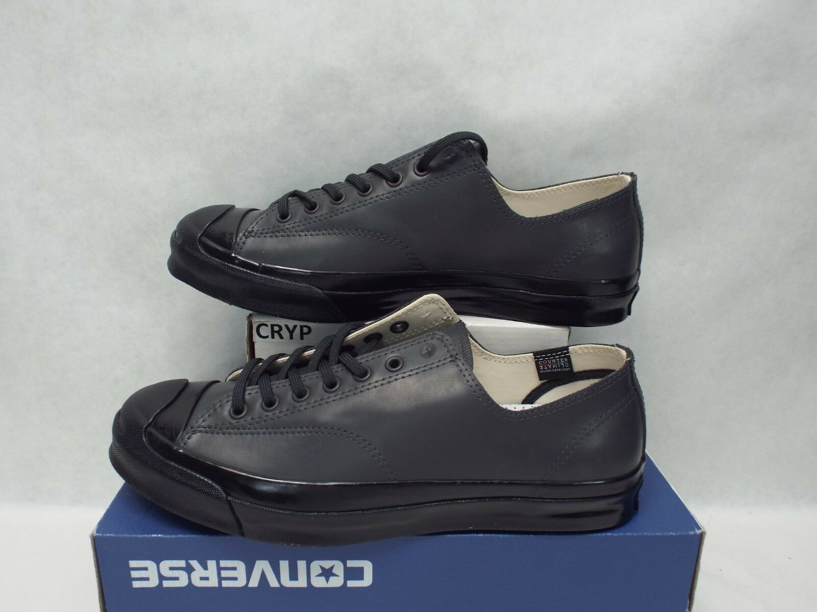 New Mens 10 Converse JP Jack Purcell OX Dark Gry Blck Leather schuhe  110 147571C