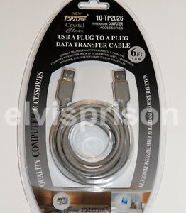 Laptop-Netbook-Desktop-PC-to-PC-Sync-Data-File-Transfer-Cable-USB-A-A-Male-Plug