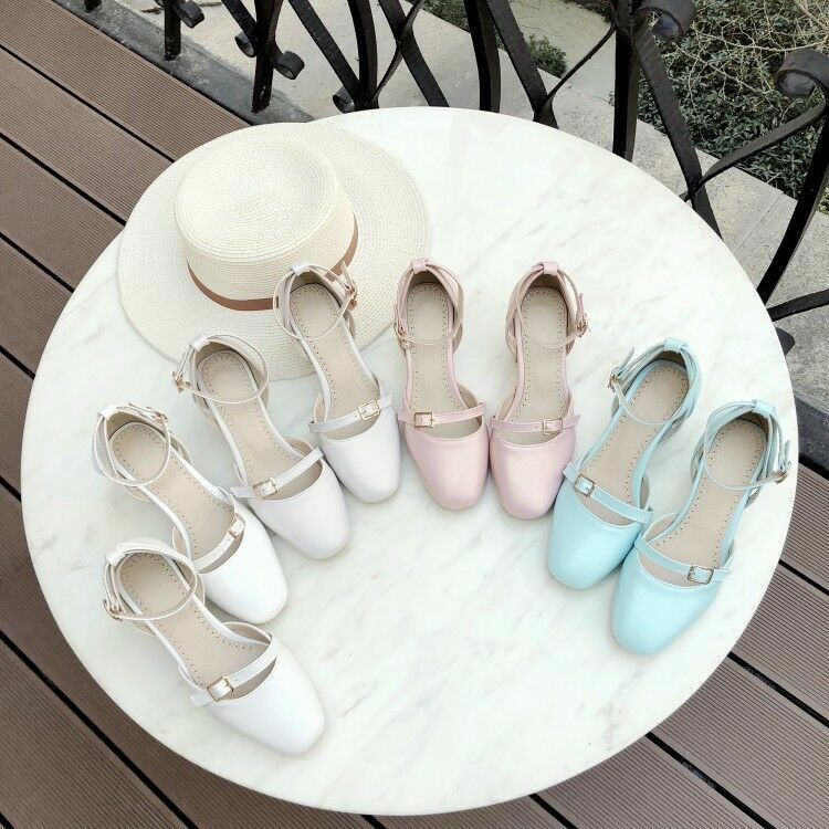Fashion Womens Ankle Buckle Block Mid Heels Round Toe Pumps Sandals Casual shoes