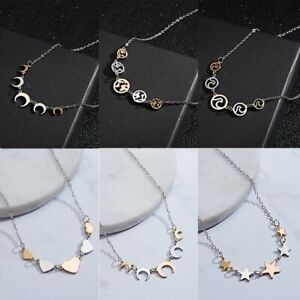 New-Fashion-Women-039-s-Star-Love-Heart-Silver-Pendant-Necklace-Long-Chain-Jewelry