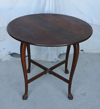 Oak Drop Leaf Parlor Lamp Table with claw feet