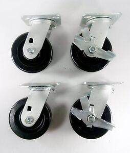 "5"" x 2"" Phenolic Wheel Caster - Swivel (2EA) & Swivel with Brake (2EA)"