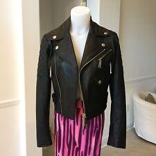 DSQUARED2 black leather cropped biker jacket size ITA 42