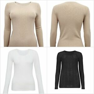 4854a31aabe89 Details about Fa M ou S High St Women s Lightweight Pointelle Thermal long  Sleeve Top 2   Tog