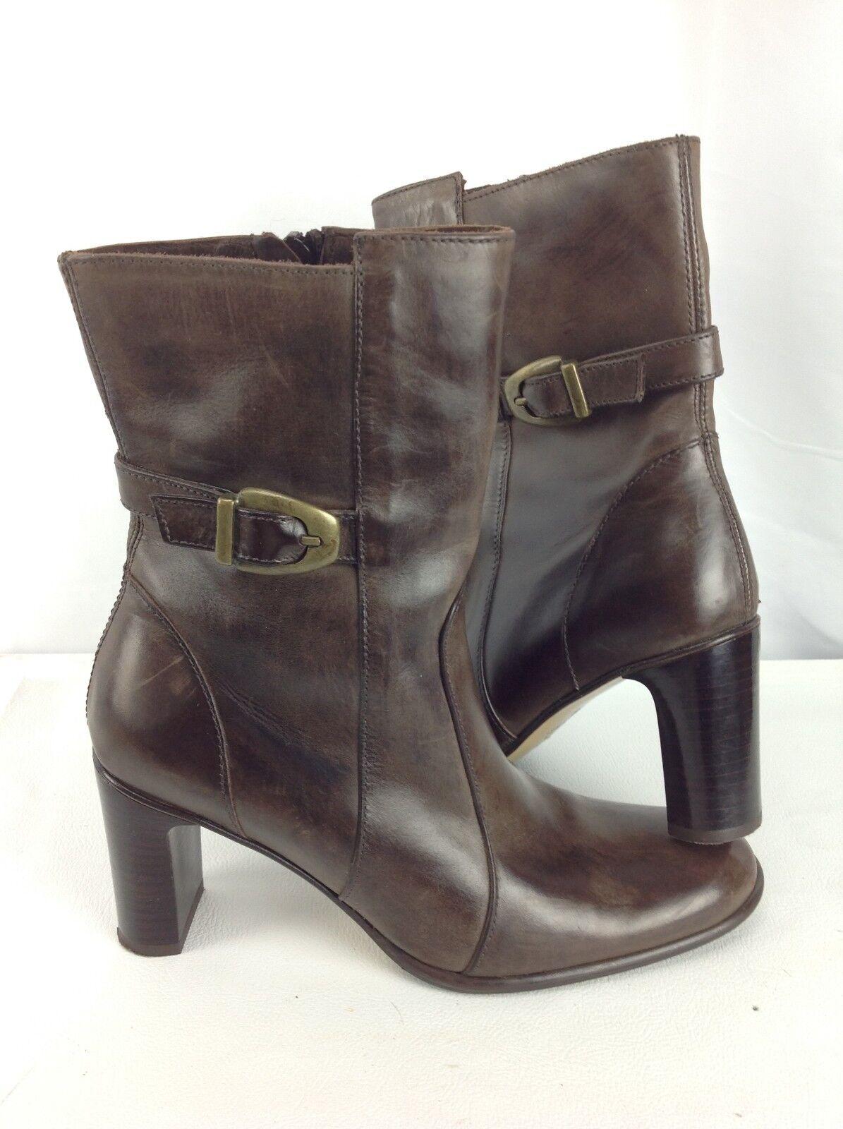 Zita Maria Brown Italian Leather Zip Ankle Boots - Womens 36   US Sz 6