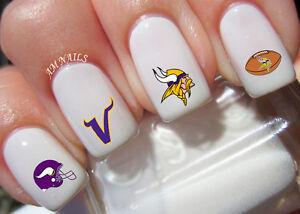 Minnesota Vikings Nail Art Stickers Transfers Decals Set Of 48 Ebay
