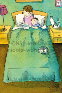 4x6-PRINT-Story-Time-mom-child-bedtime-cat-pets-mother-boy-bedroom