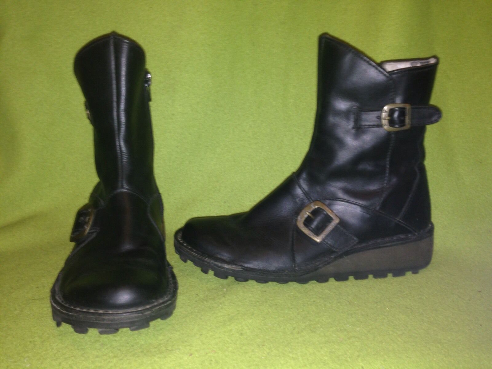Black Fly London Zip-Up Wedge Wedge Wedge Boots 6.5 fafbad