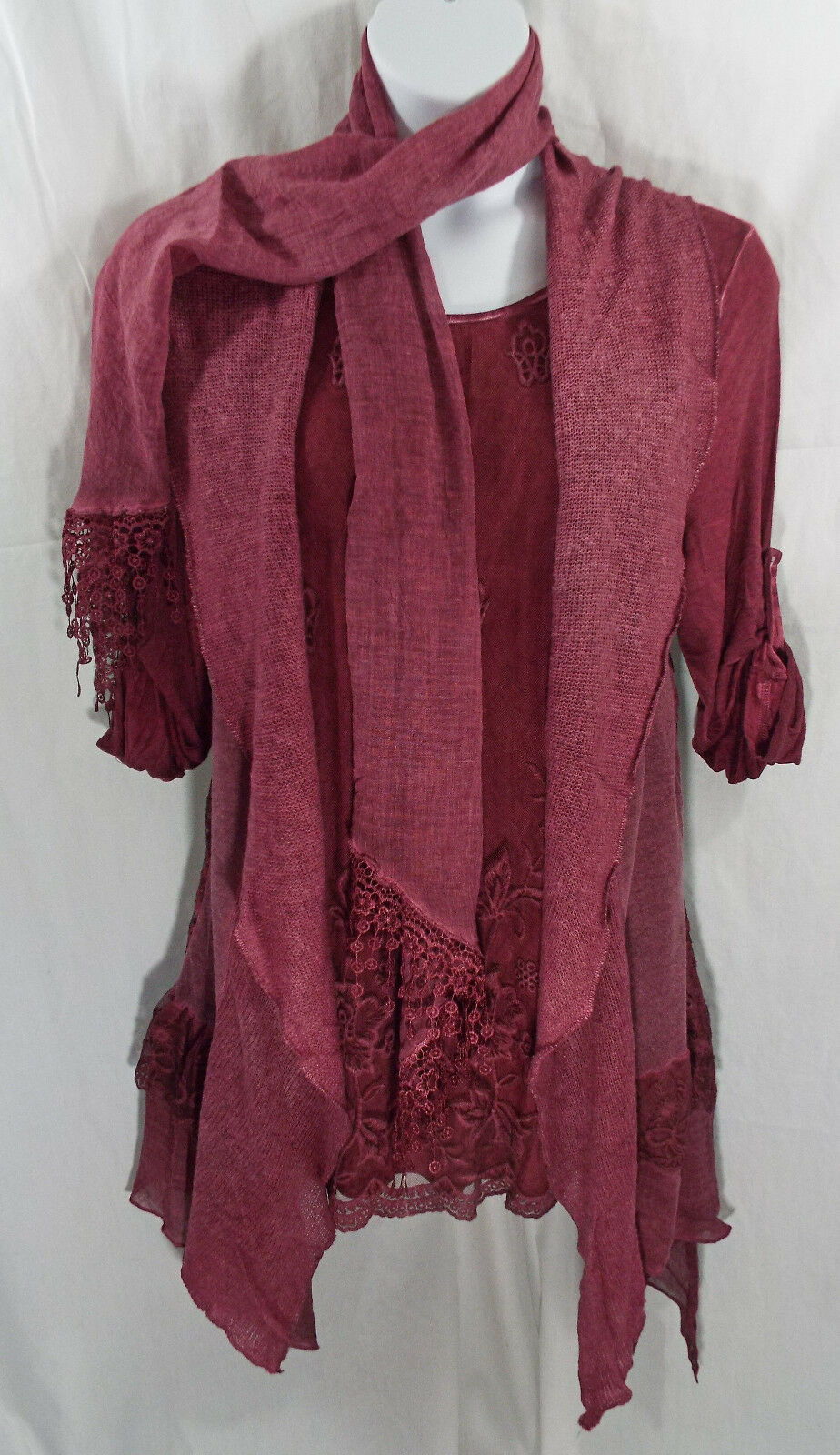 3 Piece Blouse Vest Scarf Hand Dyed Set in Wine by Fantazia