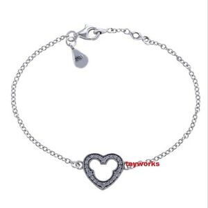 Authentic 925 Sterling Silver Heart Silver With Cubic Zirconia CZ Charm Bracelet