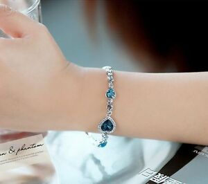 Details about Fashion Charm Women s Ocean Heart Blue Crystal Rhinestone  Bangle Bracelet Gift 9a7525a92746