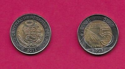 PERU 5 NUEVOS SOLES 1995 XF STYLIZED BIRD IN FLIGHT TO LEFT OF VALUE WITHIN