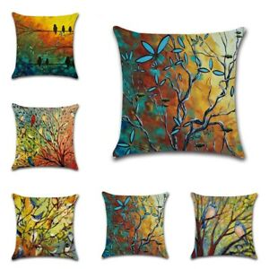 Home-Decor-Hundred-Bird-Forest-Oil-Painting-Pillow-Case-Sofa-Waist-Cushion-Cover