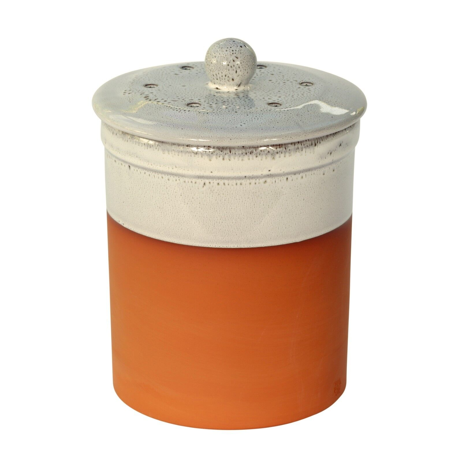 Chetnole Terracotta Compost Caddy - Oyster Weiß - Ceramic Kitchen Compost Bin