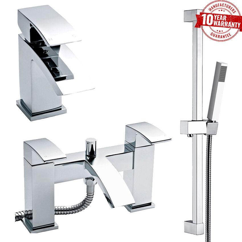 Luxe Moderne pont monté Chrome bassin Tap & bain douche robinet avec Kit de rails  C
