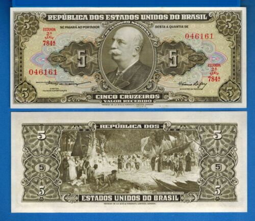 Brazil P-158a 5 Cruzeiros ND Year 1953-1959 Uncirculated Banknote